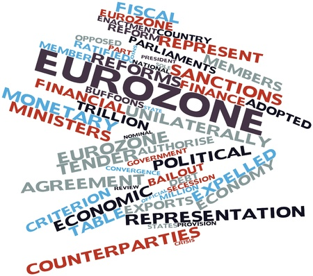 obliged: Abstract word cloud for Eurozone with related tags and terms Stock Photo
