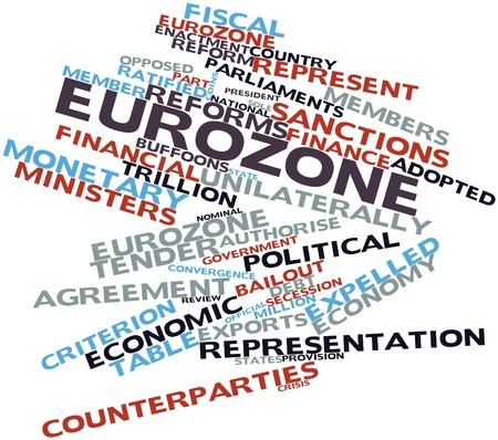 zone euro: Nuage de mots abstraits pour la zone euro avec des �tiquettes et des termes connexes
