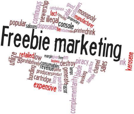 bundling: Abstract word cloud for Freebie marketing with related tags and terms Stock Photo