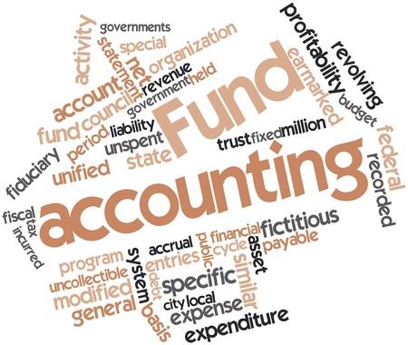 contabilidad financiera cuentas: Nube palabra abstracta para la contabilidad del Fondo con las etiquetas y términos relacionados