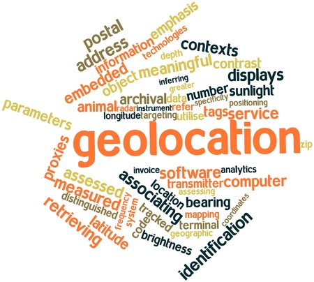 geolocation: Abstract word cloud for Geolocation with related tags and terms