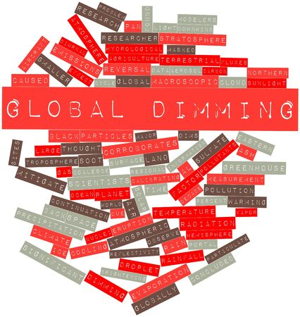 continuation: Abstract word cloud for Global dimming with related tags and terms Stock Photo