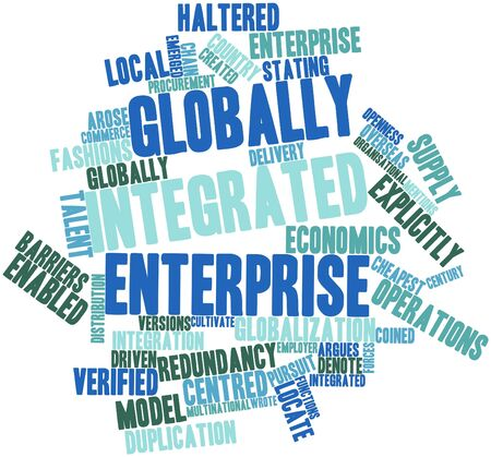 Abstract word cloud for Globally Integrated Enterprise with related tags and terms photo