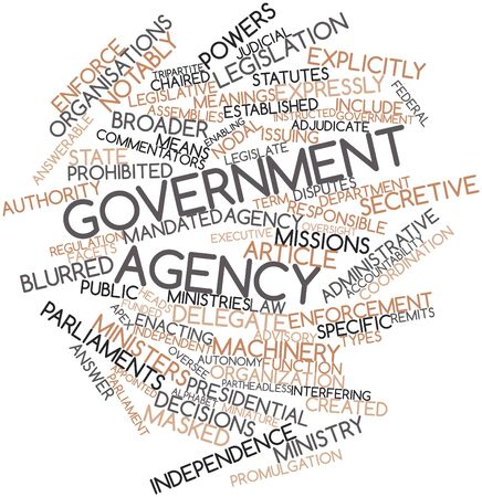 Abstract word cloud for Government agency with related tags and terms Stock Photo - 16489224