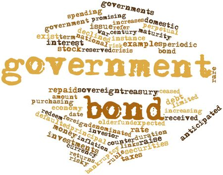 redeem: Abstract word cloud for Government bond with related tags and terms