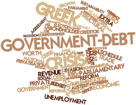 unsustainable: Abstract word cloud for Greek government-debt crisis with related tags and terms Stock Photo