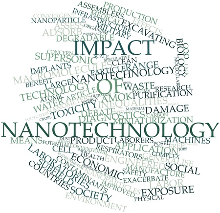 toxicity: Abstract word cloud for Impact of nanotechnology with related tags and terms Stock Photo