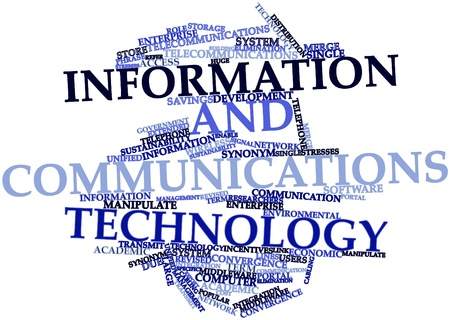 revised: Abstract word cloud for Information and communications technology with related tags and terms