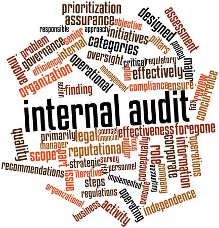 Abstract woordwolk voor interne audit met gerelateerde tags en voorwaarden Stockfoto