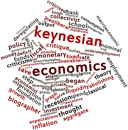determinants: Abstract word cloud for Keynesian economics with related tags and terms