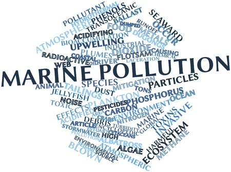 marine industry: Abstract word cloud for Marine pollution with related tags and terms Stock Photo