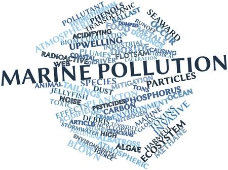 contaminacion acustica: Nube de la palabra abstracta de la contaminación marina con etiquetas y términos relacionados