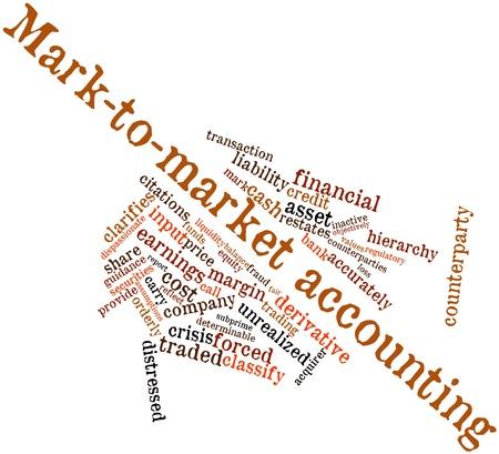 Abstract woordwolk voor Mark-to-market accounting met gerelateerde tags en voorwaarden