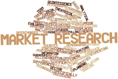 derive: Abstract word cloud for Market research with related tags and terms Stock Photo