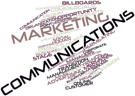 occur: Abstract word cloud for Marketing communications with related tags and terms Stock Photo