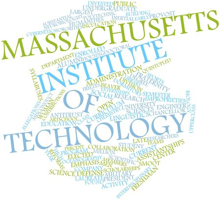 Abstract word cloud for Massachusetts Institute of Technology with related tags and terms Stock Photo