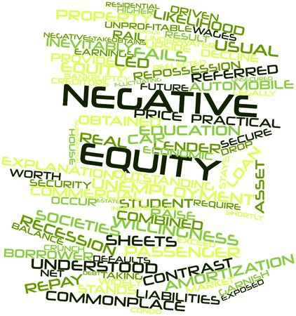 fails: Abstract word cloud for Negative equity with related tags and terms Stock Photo