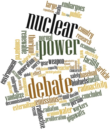 decommissioning: Abstract word cloud for Nuclear power debate with related tags and terms Stock Photo