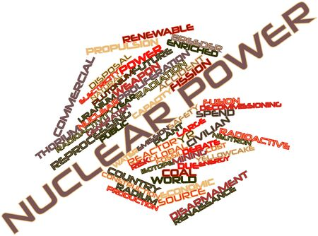 proliferation: Abstract word cloud for Nuclear power with related tags and terms Stock Photo