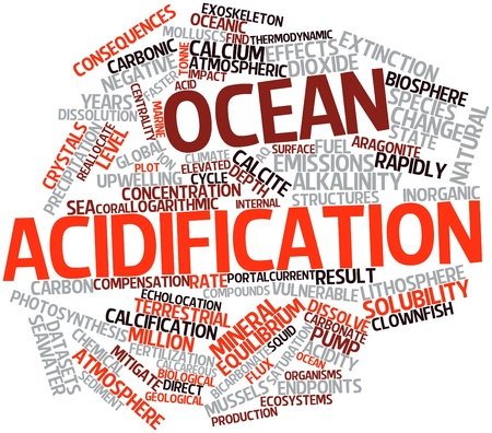 echolocation: Abstract word cloud for Ocean acidification with related tags and terms Stock Photo