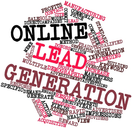 requisite: Abstract word cloud for Online lead generation with related tags and terms Stock Photo