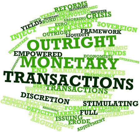 continuation: Abstract word cloud for Outright Monetary Transactions with related tags and terms Stock Photo