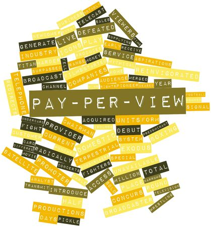 differed: Abstract word cloud for Pay-per-view with related tags and terms Stock Photo