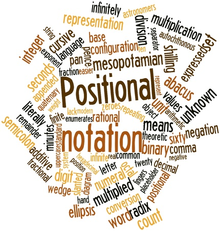 pence: Abstract word cloud for Positional notation with related tags and terms Stock Photo