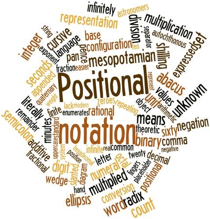 inteligible: Nube palabra abstracta para la notaci�n posicional con las etiquetas y t�rminos relacionados Foto de archivo