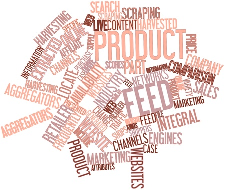 Abstract word cloud for Product feed with related tags and terms Stock Photo