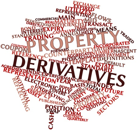 Abstract word cloud for Property derivatives with related tags and terms Stock Photo