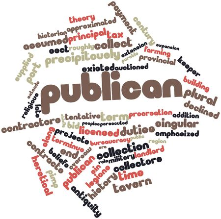 existed: Abstract word cloud for Publican with related tags and terms Stock Photo
