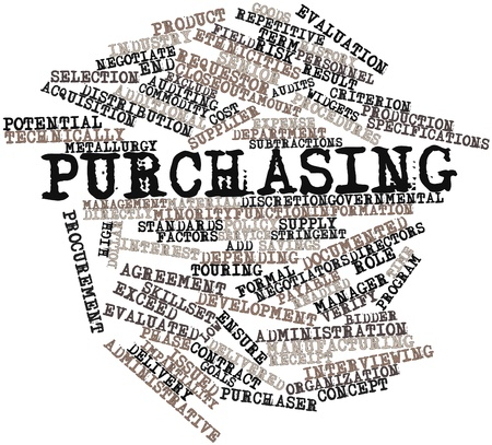 purchasing manager: Abstract word cloud for Purchasing with related tags and terms