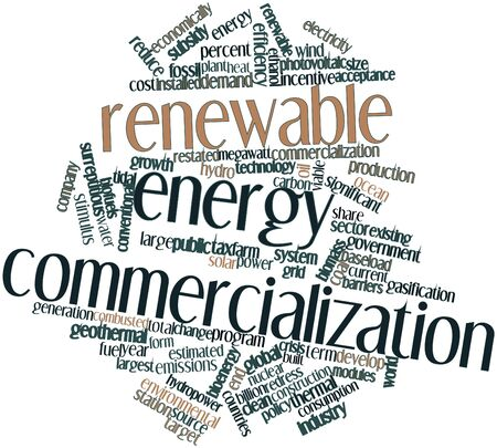 energy crisis: Abstract word cloud for Renewable energy commercialization with related tags and terms
