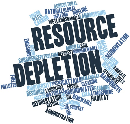 depletion: Abstract word cloud for Resource depletion with related tags and terms Stock Photo