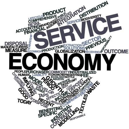 industrialized country: Abstract word cloud for Service economy with related tags and terms Stock Photo
