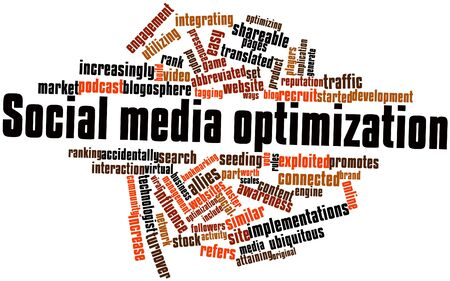 promotes: Abstract word cloud for Social media optimization with related tags and terms