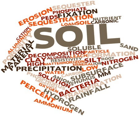 bedrock: Abstract word cloud for Soil with related tags and terms