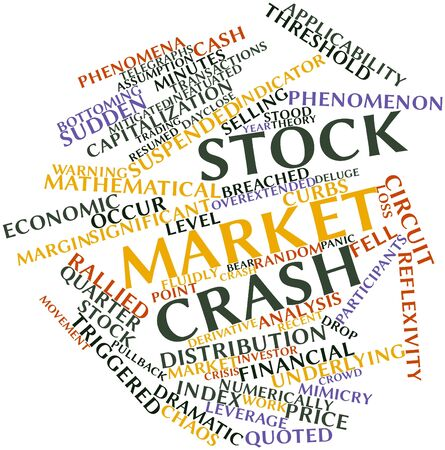Abstract word cloud for Stock market crash with related tags and terms photo