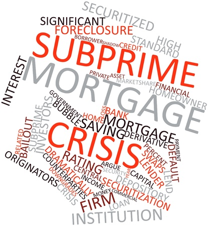 swaps: Abstract word cloud for Subprime mortgage crisis with related tags and terms Stock Photo