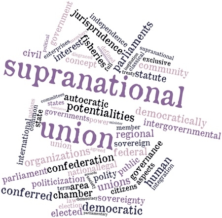 parliaments: Abstract word cloud for Supranational union with related tags and terms Stock Photo