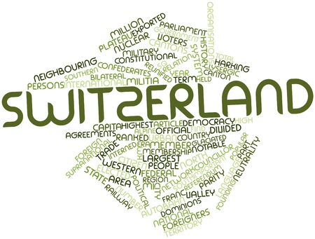 hominid: Abstract word cloud for Switzerland with related tags and terms Stock Photo