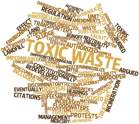 punishable: Abstract word cloud for Toxic waste with related tags and terms Stock Photo