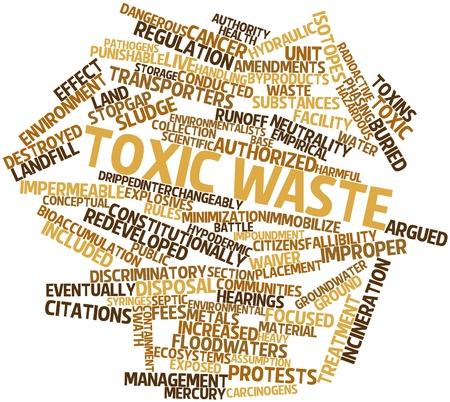 desechos toxicos: Nube palabra abstracta para residuos tóxicos con etiquetas y términos relacionados