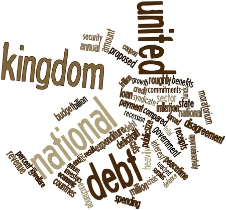 commencing: Abstract word cloud for United Kingdom national debt with related tags and terms
