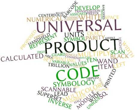 Abstract word cloud for Universal Product Code with related tags and terms