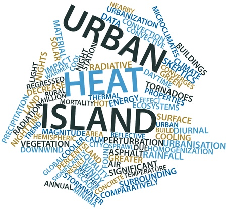 Abstract word cloud for Urban heat island with related tags and terms Stock Photo - 16489223