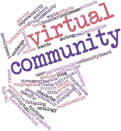 Abstract word cloud for Virtual community with related tags and terms Stock Photo - 16489082