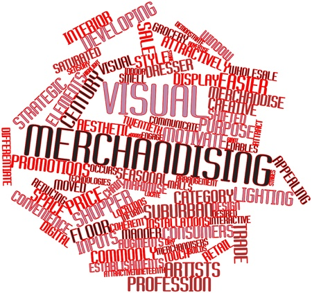 product display: Abstract word cloud for Visual merchandising with related tags and terms Stock Photo
