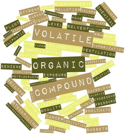 carcinogen: Nube palabra abstracta para el compuesto org�nico vol�til con etiquetas y t�rminos relacionados Foto de archivo